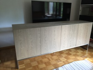 Design Sideboard, Anrichte Farbe beige-grau mit vier Türen, Breite 200 cm