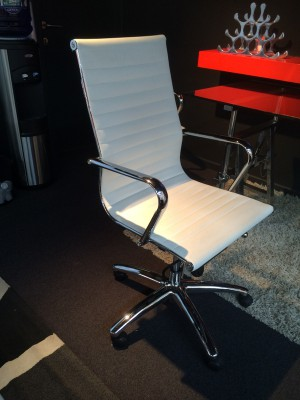 Bürostuhl weiß-chrom,  Schefsessel weiß mit hohe Rückenlehne