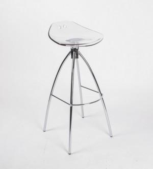 Design Bar-Tresenhocker, Farbe Transparent - Chrom, Sitzhöhe 80 cm