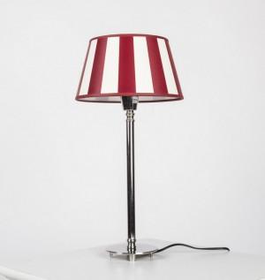 Tischleuchte mit gestreiften Lampenschirm, Tischlampe verchromt,  Höhe 51 cm