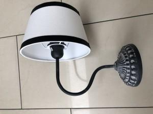 Wandlampe mit Lampenschirm, Wandleuchte grau Lampenschirm weiß-schwarz
