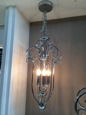 Hängeleuchte/Kronleuchte im klassischen Stil, verchromt, Höhe 54 cm