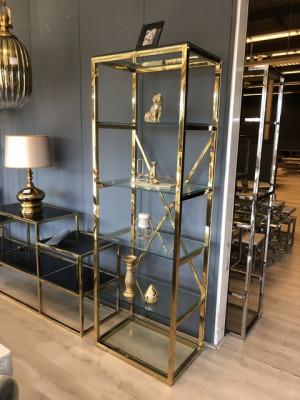Regal Gold Metall Glas, Bücherregal Silber Glas Metall, Glas Regal Silber, Breite 60 cm