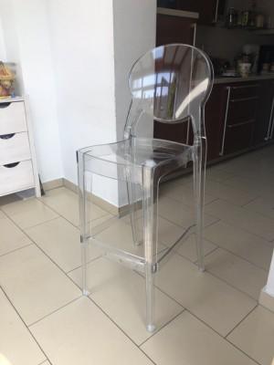 Barstuhl transparent Kunststoff, Barhocker transparent, Sitzhöhe 65 cm