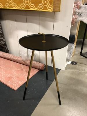 Beistelltisch rund schwarz, runder Tisch schwarz-Gold, Durchmesser 37 cm