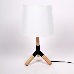 Tischleuchte mit einem weißen Lampenschirm, Tischlampe aus Holz, Ø 33 cm