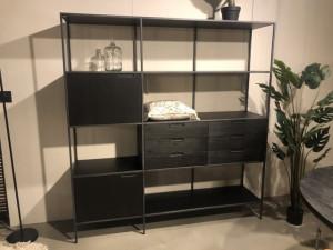 Regal schwarz, Wohnzimmerschrank schwarz, Schrank schwarz Metall Holz, Breite 180 cm