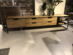 TV Schrank Naturholz, Fernsehschrank Metall-Gestell, TV Regal Holz, Breite 210 cm