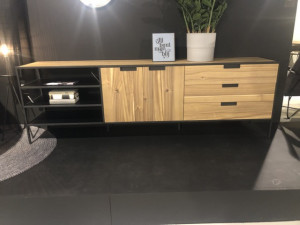 Sideboard Naturholz, Anrichte Metall-Gestell, Sideboard Holz, Breite 220 cm