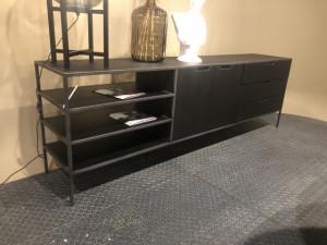 Sideboard schwarz, Anrichte schwarz, Sideboard Metall Holz schwarz, Breite 220 cm