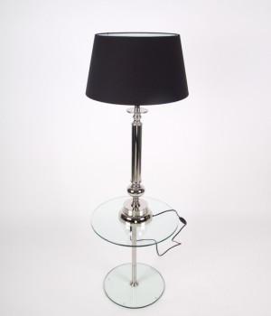 Tischlampe Klassik, Tischleuchte, Farbe chrome-schwarz, Höhe 90 cm