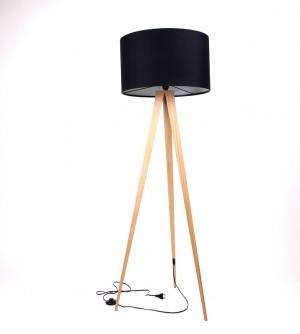 Moderne Dreifuß Stehleuchte in Holzoptik mit einem Lampenschirm in zwei Farben: schwarz und weiß