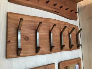Wandgarderobe Massivholz, Garderobe mit 12 Haken, Breite 100 cm