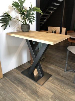 Bartisch Industriedesign, Bartisch Eiche Tischplatte, Bartisch Metall Gestell, Breite 120x70 cm