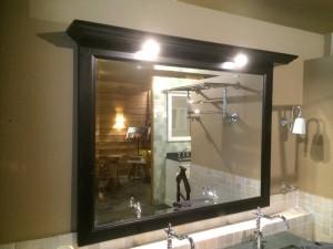 Spiegel schwarz mit Beleuchten, Spiegel Massivholz, Breite 138 cm