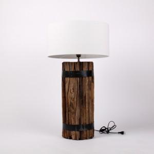 Tischlampe mit einem Lampenschirm, Tischleuchte braun - weiß