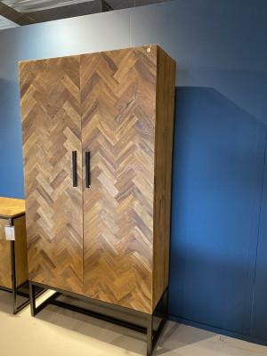 Kleiderschrank Holz, Schrank Fischgrätmuster,  Aktenschrank Fischgrätmuster-Optik, Anrichte Holz, Breite 105 cm