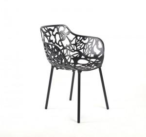 Gartenstuhl schwarz, Designstuhl schwarz Aluminium, Outdoor-Stuhl schwarz