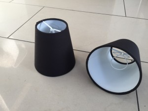 KIemmschirm schwarz, Aufsteckschirm schwarz, Lampenschirm für Kronleuchter, Form rund Ø 11 cm
