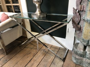 Konsole Silber Glas-Metall verchromt, Wandtisch verchromt Glas, Maße 120x40 cm