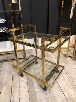 Servierwagen Glas Metall, Serviertisch Gold, Trolley Gold