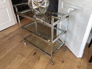 Servierwagen Silber Glas, Serviertisch Silber, Trolley verchromt Glas Metall