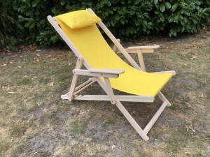 Liegestuhl gelb Massivholz und 100 % Baumwolle, Sonnenliege gelb, Strandstuhl gelb