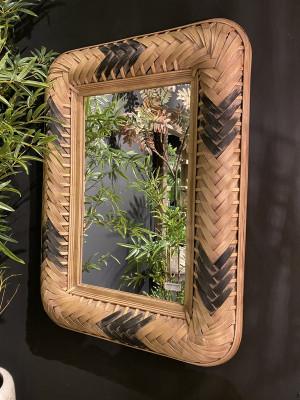 Spiegel Rattan, Wandspiegel Rattan,  Maße 95 x 71 cm