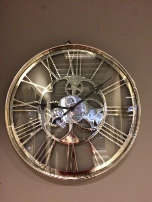 Wanduhr, Farbe Chrome, Durchmesser 60 cm
