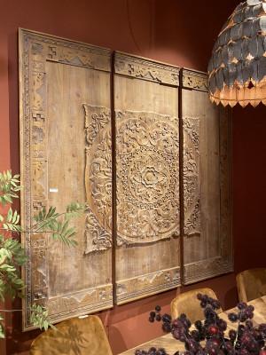 Wandpanel Holz, Bild Holz Ornament, Maße 180x 180 cm