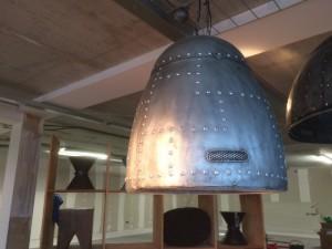 Pendelleuchte im  Industriedesign,  Farbe Silber-Grau, Hängeleuchte, Hängelampe Ø 45 cm