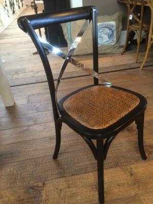 Stuhl schwarz,  Stuhl Rattan Sitzfläche