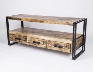 Wandkonsole, TV Lowboard aus Massivholz im Industriedesign mit 3 Schubladen