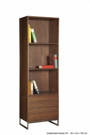 Design Bücherschrank, Wohnzimmerschrank Walnuss furniert, Breite 60 cm