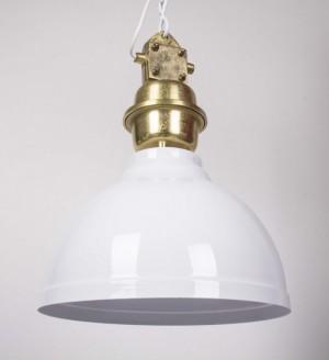 Pendelleuchte weiß-gold im Industriedesign, Hängeleuchte weiß, Durchmesser 35 cm