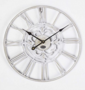 Wanduhr Metall im Landhausstil, Uhr weiß-beige vintage, Ø 102 cm