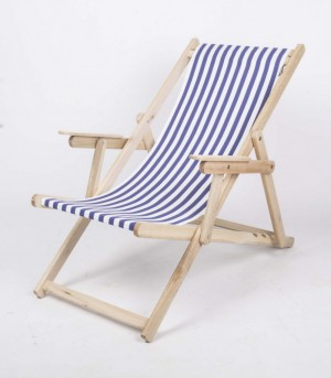 Liegestuhl mit Nackenkissen aus Massivholz und 100 % Baumwolle, Strandstuhl gestreift blau-weiß