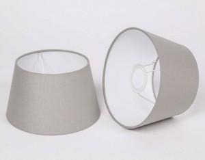 Lampenschirm für Tischleuchte, Form rund, Farbe Grau-Taupe, Durchmesser 20 cm