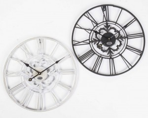 Wanduhr Metall im Landhausstil, Uhr schwarz vintage, Ø 40 cm