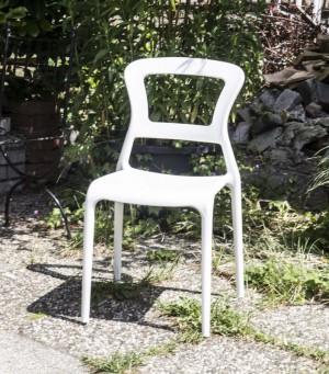 Gartenstuhl weiß  aus Kunststoff, Stuhl Outdoor