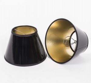Aufsteckschirm schwarz-gold Kronleuchter KIemmschirm schwarz rund Lampenschirm für Kronleuchter Ø 16 cm