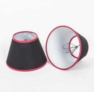 Aufsteckschirm schwarz-rot Kronleuchter KIemmschirm schwarz rund Lampenschirm für Kronleuchter Ø 16 cm