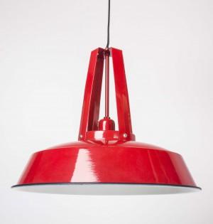 Hängeleuchte rot im Industriedesign, Pendelleuchte rot, Durchmesser 42 cm