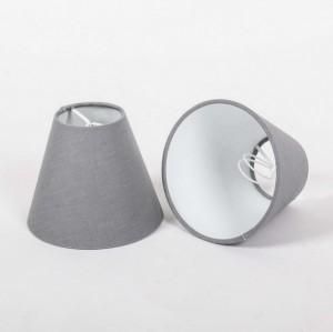 KIemmschirm grau, Steckschirm für Kronleuchter, Form rund Ø 14 cm