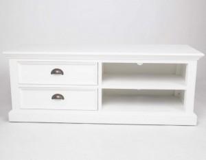 Fehrnsehschrank-Sideboard weiss im Landhausstil mit zwei Schubladen, Breite 120 cm