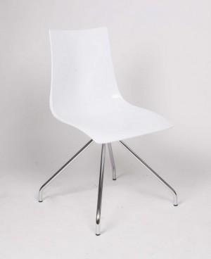 Design Stuhl Kunststoff, Stuhl weiß-chrom