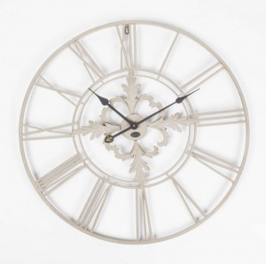 Wanduhr  Metall im Landhausstil, Uhr grau vintage, Ø 70 cm