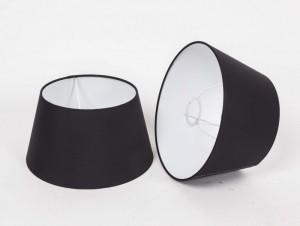 Lampenschirm für Tischleuchte, Form rund, Farbe Schwarz, Durchmesser 25 cm