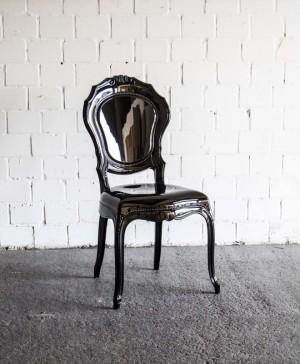 Stuhl Barock schwarz Kunststoff