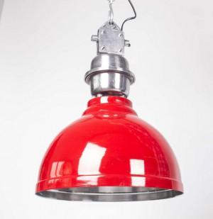 Pendelleuchte Rot im Industriedesign, Hängeleuchte Rot, Durchmesser 35 cm